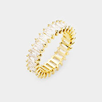 Gold Dipped Baguette Cut  CZ Ring
