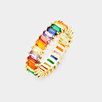 Gold Dipped Baguette Cut  Colorful CZ Ring