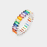 White Gold Dipped Baguette Cut Colorful CZ Ring