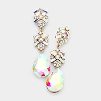 Chunky Pear Crystal Floral Evening Drop Earrings