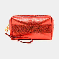 Metallic Color Glitter Pouch Bag