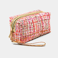 Tweed Plaid Pouch Bag