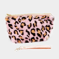 Leopard Faux Fur Pouch Bag