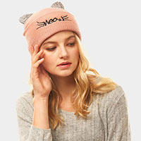 Meow Solid Stone Cat Ear Beanie Hat