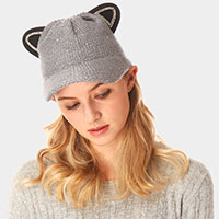 Solid Cat Ear Slouchy Newboy Cap