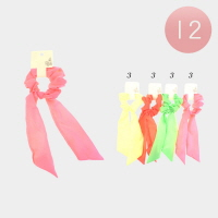 12Pcs - Neon Scarf Pony Hair Bands