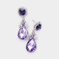 Glass Crystal Teardrop Dangle Evening Earrings