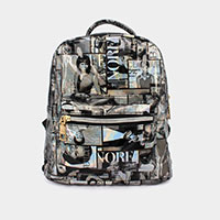 Mixed Picture Print Backpack Bag