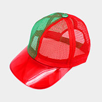 Color Block Transparent Brim Trucker Hat