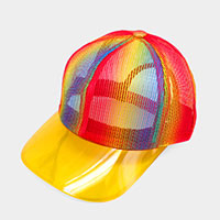 Rainbow Transparent Brim Trucker Hat