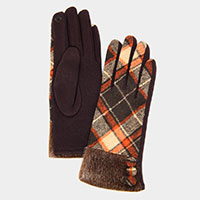 Faux Fur Plaid Smart Gloves
