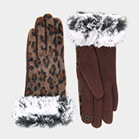 Leopard Print Faux Fur Trim Smart Gloves