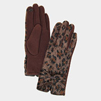 Leopard Print Big Bow Smart Gloves