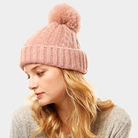 Cable Knit Pompom Solid Beanie Hat