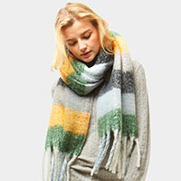 Multi Color Plaid Oblong Fringe Scarf
