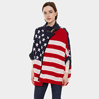 American Flag Pattern Metallic Hook Poncho