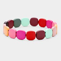 Colorful Wood Bead Stretch Bracelet