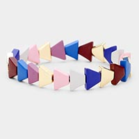 Colorful Triangle Wood Bead Stretch Bracelet