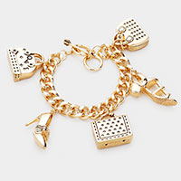 High Heel Shoes Hand Bag Charm Metal  Toggle Bracelet