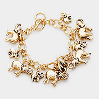 Metal Elephant Charm Toggle Bracelet