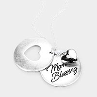 'Mom Blessing' Heart Pendant Long  Necklace