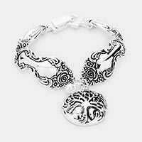 Antique Metal Tree of Life Charm Magnetic Bracelet