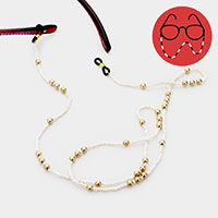 Cream Bead Metal Ball Glasses Chain