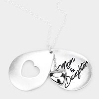 'Mom and Daughter' Heart Pendant Long Necklace