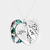 Abalone Heart Message Wings Pendant Necklace