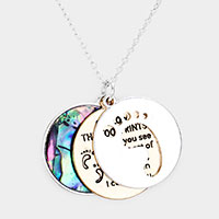 Triple Circle Abalone Message Foot Pendant Necklace