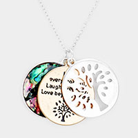 Triple Circle Abalone Message Tree of Life Pendant Necklace