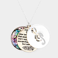 Triple Circle Abalone Message Music Pendant Necklace