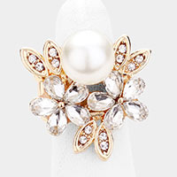 Pearl Glass Crystal Floral Stretch Ring