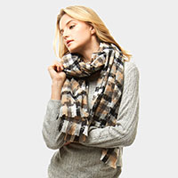 Multi Tone Houndtooth Plaid Oblong Scarf