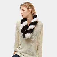 Faux Fur Twisted Pull Through Scarf
