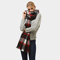 Plaid Oblong Fringe Scarf