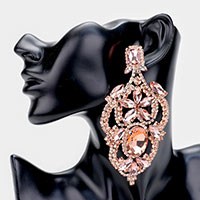 Oversized Crystal Floral Pave Drop Evening Clip On Earrings