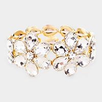 Crystal Floral Teardrop Evening Bracelet