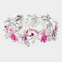 Teardrop Crystal Flower Evening Bracelet