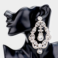 Oversized Crystal Accent Drop Evening Earrings
