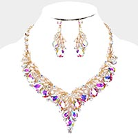 Teardrop Glass Crystal Pearl Vine Evening Necklace