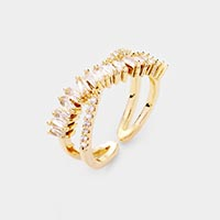 Gold Dipped CZ Accented Cuff Ring