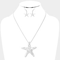 Textured Starfish Pendant Necklace
