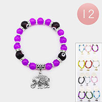 12PCS- Evil Eye Beaded Elephant Charm Stretch Bracelets