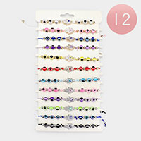 12PCS - Evil Eye Hamsa Hand Rhineston Bead Adjustable Bracelets