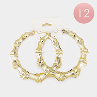 12PCS - Bamboo Metal Pin Catch Hoop Earrings