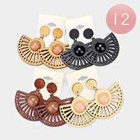 12PCS - Wood Dangle Earrings