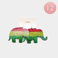 12PCS - Color Block Elephant Earrings