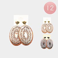 12PCS - Oval Wood Filigree Earrings