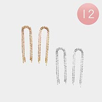12PCS - Rhinestone Pave Fringe Earrings